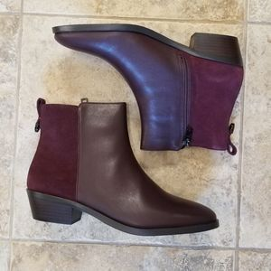 NWT COACH LEATHER PLUM BROWN NEW ANKLE BOOTIES
